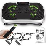 Vibrationsplatte - Ganzkörpertraining & Fitness mit 99 Intensitätsstufen für Muskelaufbau & Homeworkout - Sportgerät für Zuhause mit Fernbedienung, 2 Fitnessbänder mit Griff & Bluetooth Lautsprecher