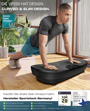 Sportstech Messeneuheit! Vibroplatte VP250 im edlen Curved Slim Design